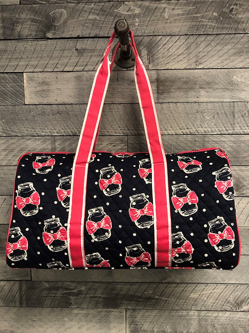 Quilted Mason Jar with Bow Duffel Bag