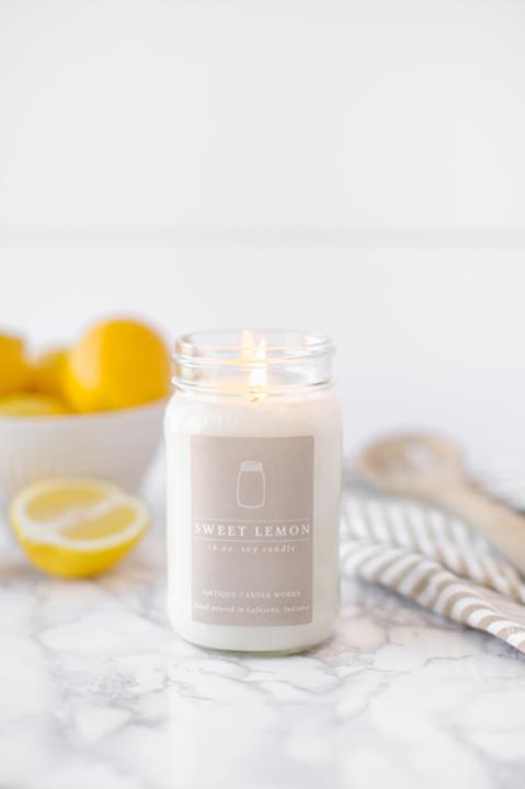 Sweet Lemon 16oz Mason Jar Candle
