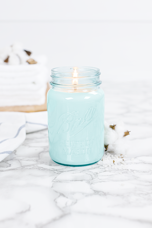 Clean Cotton 16 oz. Blue Jar Candle