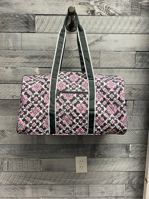 Quilted Purple and Gray Duffel Bag