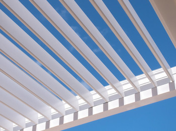 White louvered roof.