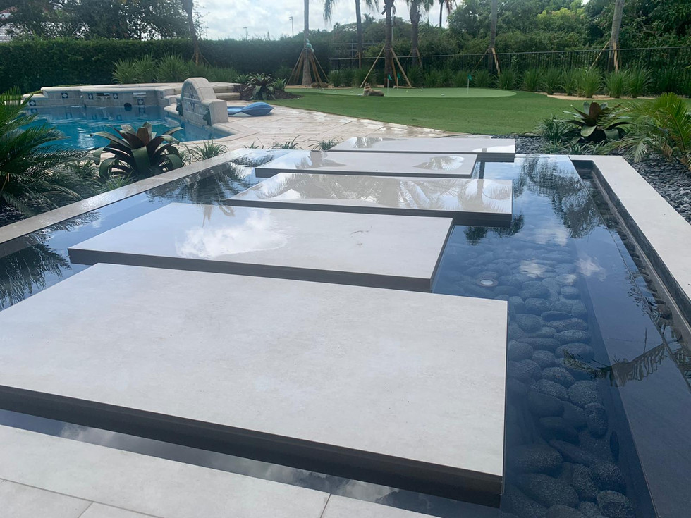water feature, stepping stones