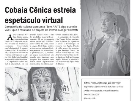 Cobaia Cênica estreia espetáculo virtual
