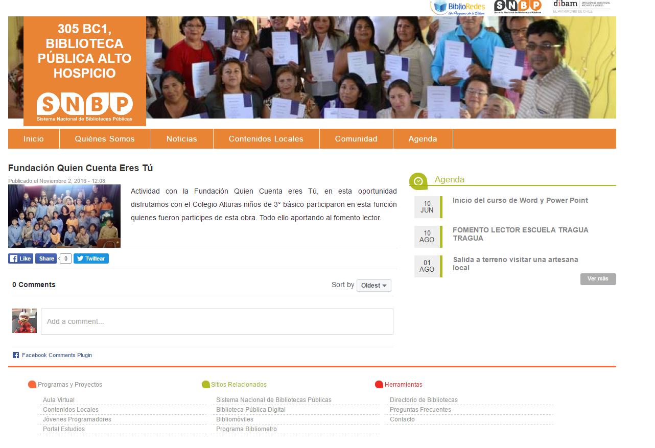 Clip prensa web biblioteca Alto Hospicio
