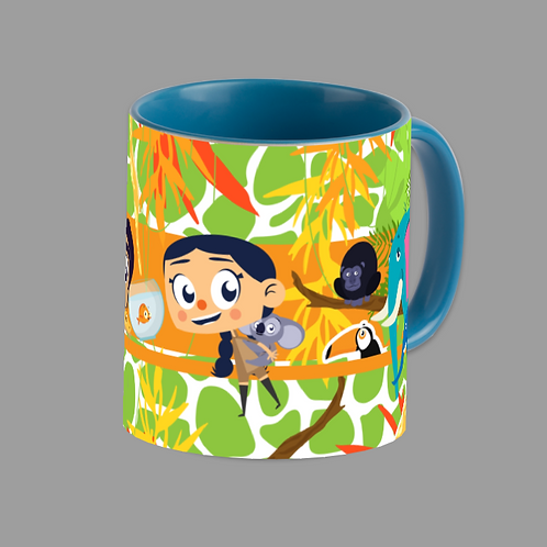 Animal Fun Blue Accent Mug 11oz