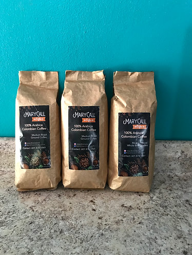 MaryCall Coffee 100% Arabica Colombian Coffee Medium Roast Ground or Beans