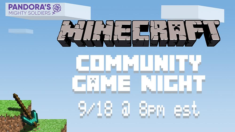 Sept. 18th -Minecraft @ 8 PM EST