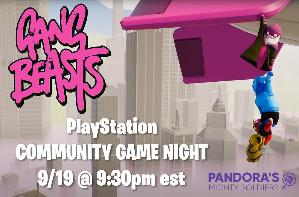 Sept. 19th -Gang Beats PS4 @ 930 PM EST