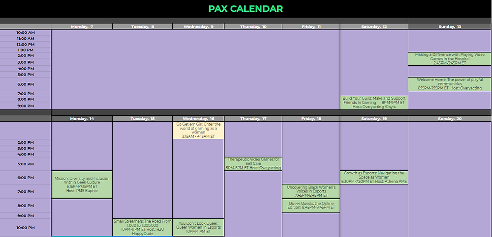 PMS Clan PAX Online Watch Party Schedule