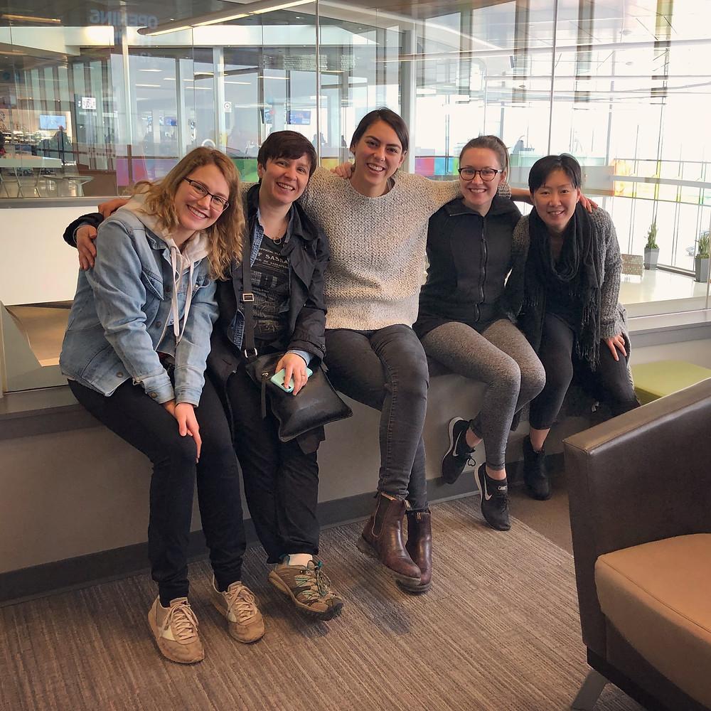 Anna Mazurik, Natasha Martina, Emma Laishram, Jackie Block, Amberlin Miller at the Saskatoon airport
