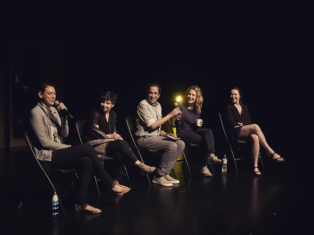 Emma Laishram, Natasha Martina, Haresh Sharma, Anna Mazurik, Jackie Block in post-show discussion at the M1 Singapore Fringe Festival