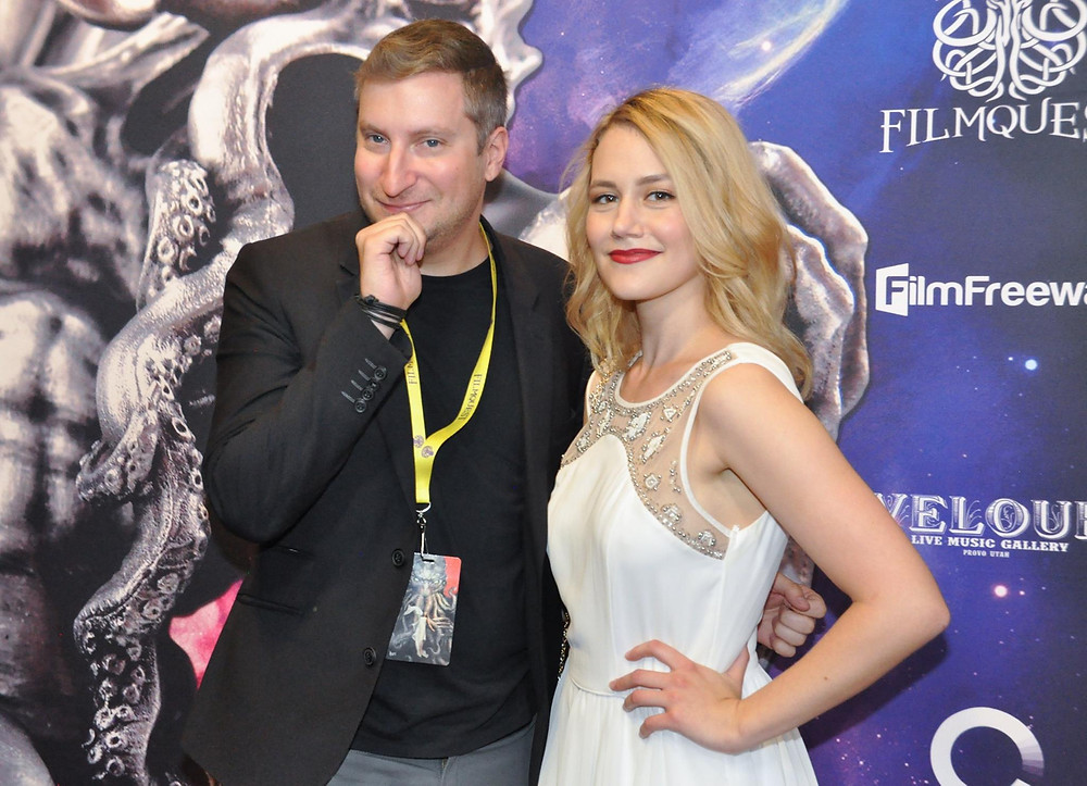 Director/Writer Travis Neufeld and Anna Mazurik on the red carpet at the FilmQuest Film Festival in September 2017