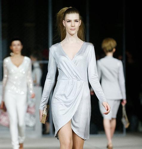 Платье трикотажное серебряное