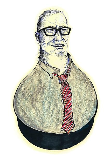 Newspaper article illustration of a politicion