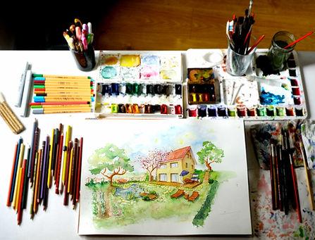 Aquarell Illustration von einem Wohnhaus von Lilyana Binsack
