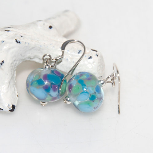 Blue Purple and Green Speckled Glass Sterling Silver Earrings