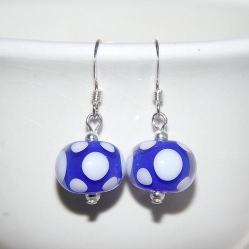 Cobalt and White Polkadot Lampwork Glass Sterling Silver Earrings