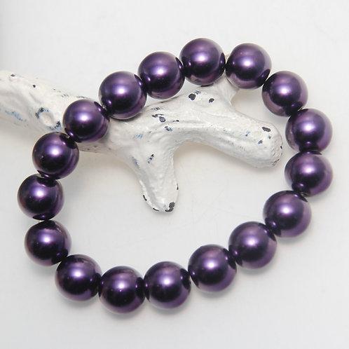 Dark Purple Pearl Elastic Bracelet