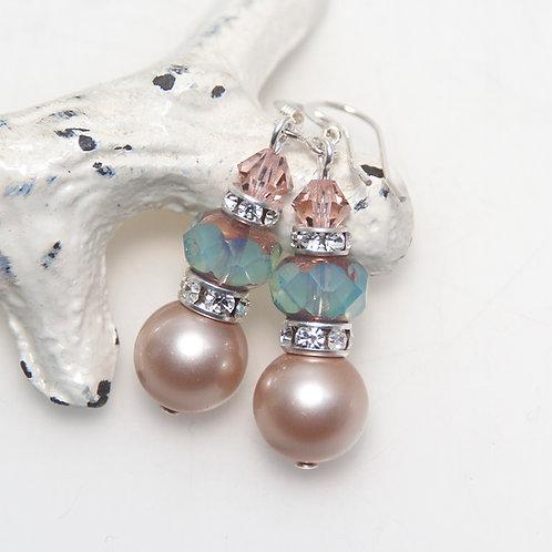 Almond and Seafoam Swarovski Crystal Pearl Earrings