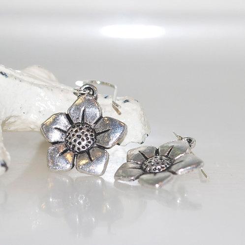 Silver Flower Charm Earrings
