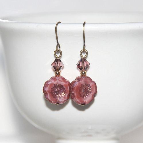 Silk Pink Czech Glass Flower Earrings with Swarovski