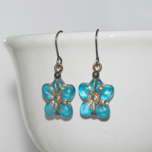 Capri Blue Golden Flower Earrings