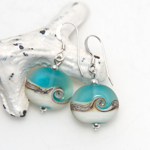 Etched Beach Wave Lampwork Glass Earrings