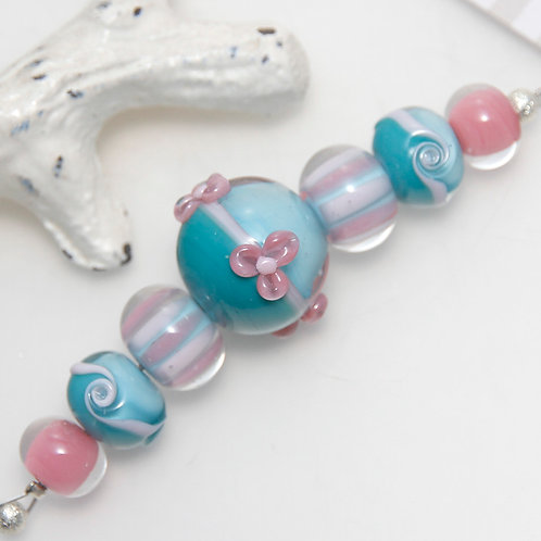 Pink Blue and Turquoise Lampwork Glass Bead Set