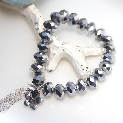 Metallic Silver Flower Tassel Bracelet