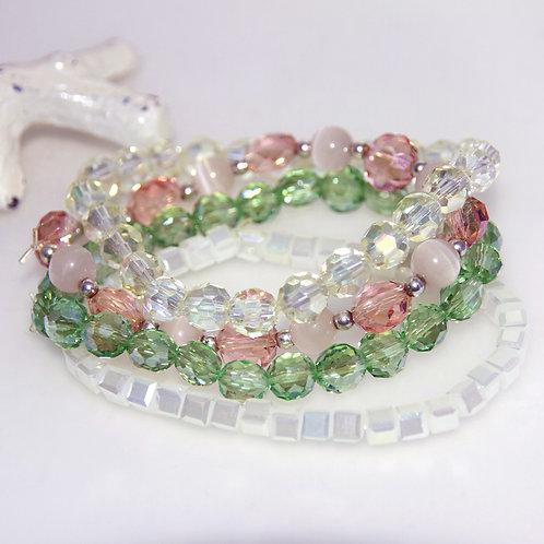 4 Stack of Shiny Crystal Elastic Bracelets