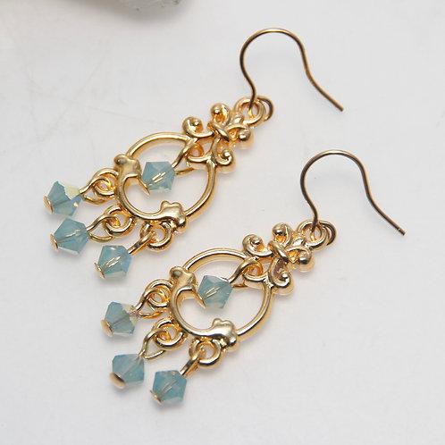 Pacific Opal AB Swarovski Crystal Chandelier Gold Earrings