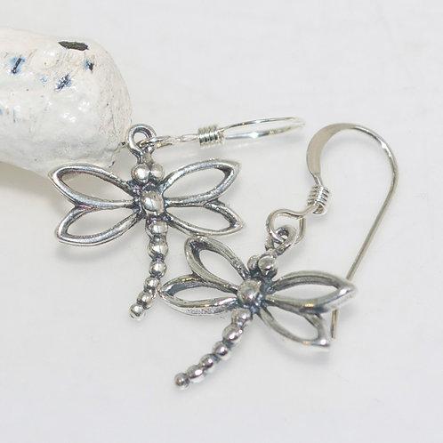 Dainty Dragonfly Sterling Silver Earrings