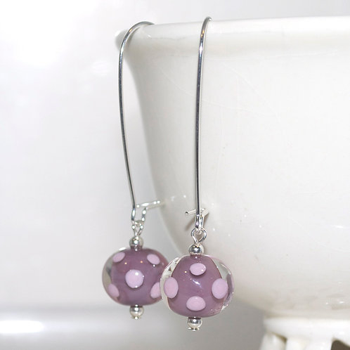 Pink and Purple Polkadot Glass Earrings