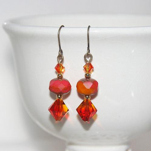 Fiery Orange Czech Glass Earrings with Swarovski