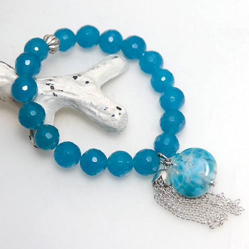 Malaysian Jade Blue Tassel Bracelet with Lampwork Glass Bead