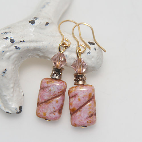 Vintage Pink Czech and Swarovski Gold Earrings