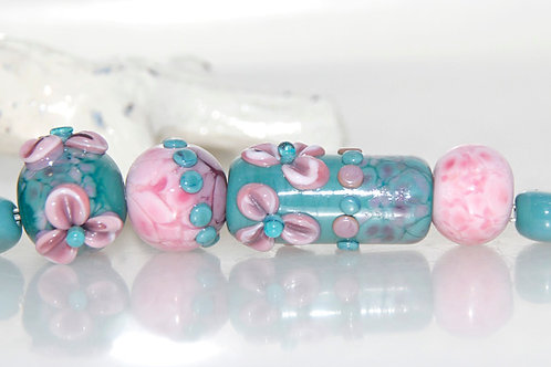 Pink and Dusty Turquoise Speckled Floral Lampwork Glass Bead Set