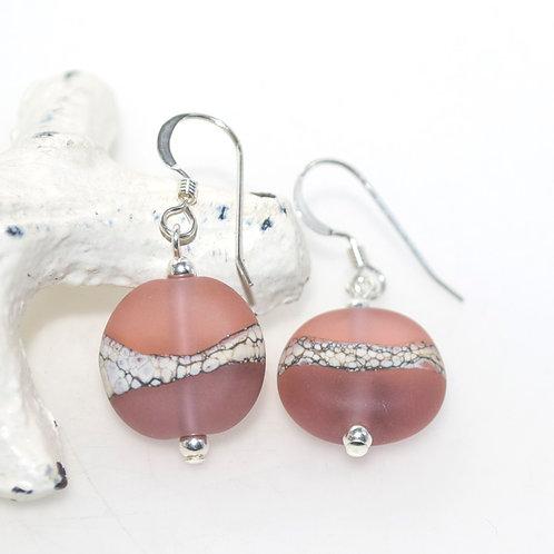 Satin Peach Purple Two Tone Earrings