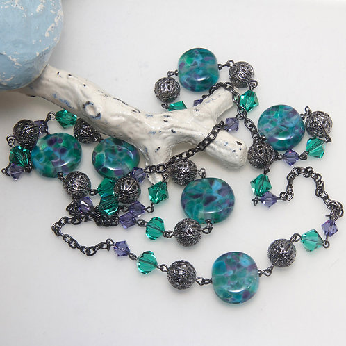Emerald Lavender Speckle Glass Bead Necklace
