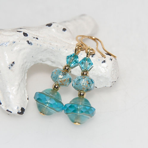 Czech Glass Aqua and Gold with Swarovski Crystals Earring Pair