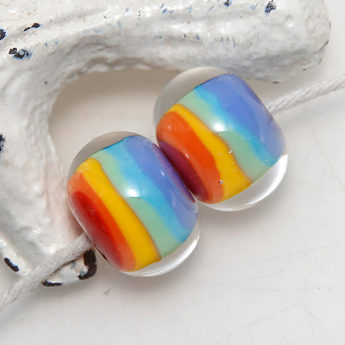 Rainbow Striped Lampwork Glass Bead Pair
