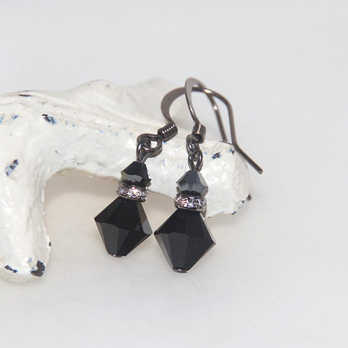 Gunmetal Black Swarovski Crystal Bling Drop Earrings