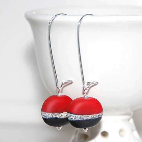 RESERVED Red and Black Matte Sterling Silver and Glass Earrings