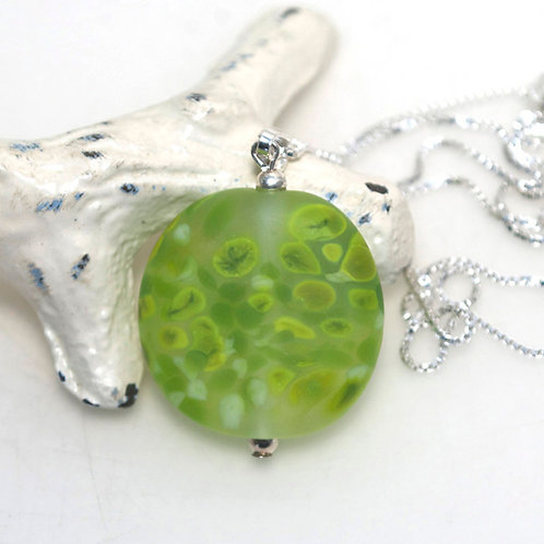 Satin Green Speckle Necklace
