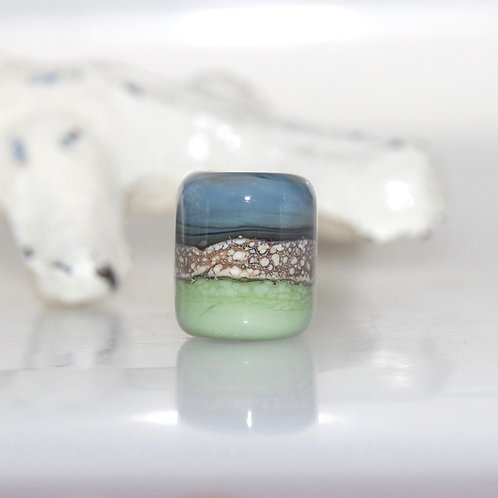 Earth Blue and Green Glass Dreadbaby Bead