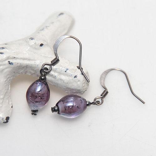 Purple Lustre Oval Earrings