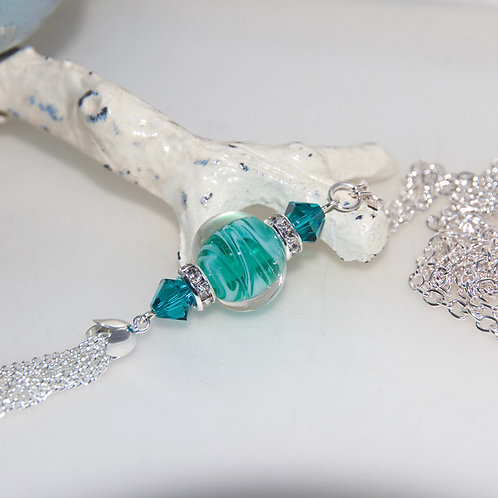 Emerald Water Lampwork Glass Silver Tassel Necklace