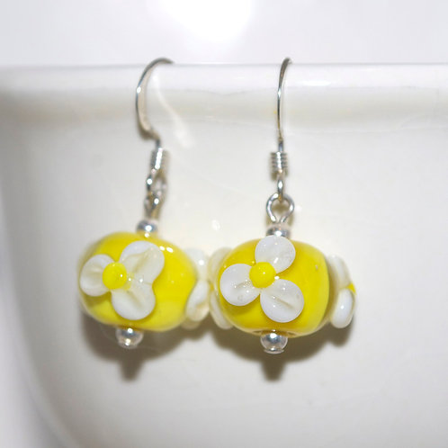 White Daisy Yellow Glass Earrings