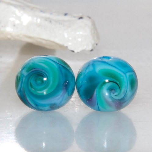 Speckled Swirled Turquoise Lampwork Glass Bead Pair