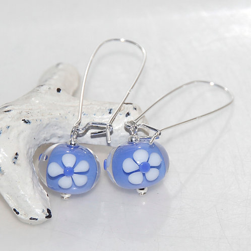 Periwinkle Blue with White Daises Silver and Glass Earrings
